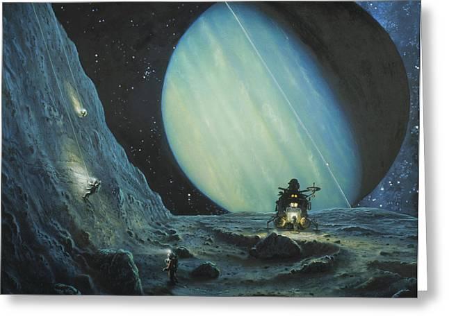Miranda Greeting Cards - Exploring Cliffs On Uranian Moon Miranda Greeting Card by Chris Butler
