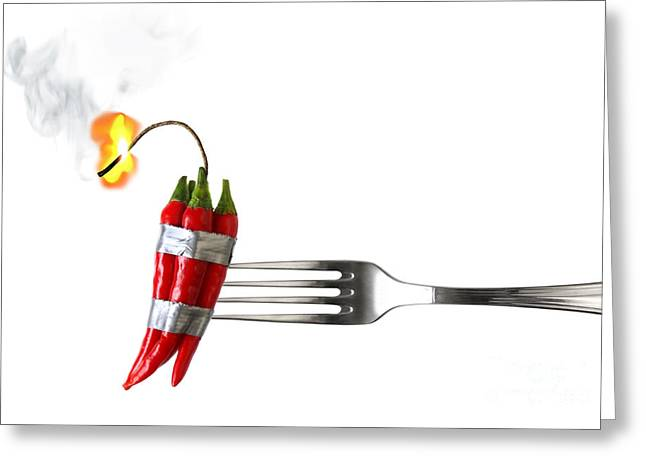 Paprika Greeting Cards - Explosive Food Greeting Card by Carlos Caetano
