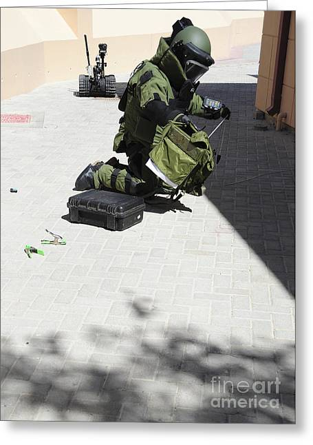 Bahrain Greeting Cards - Explosive Ordnance Disposal Technician Greeting Card by Stocktrek Images