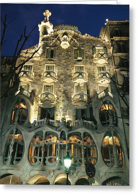Scenes And Views Photographs Greeting Cards - Exterior View Of An Antoni Gaudi Greeting Card by Richard Nowitz