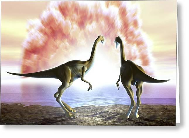 Extinction Of The Dinosaurs, Artwork Greeting Card by Jose Antonio PeÑas