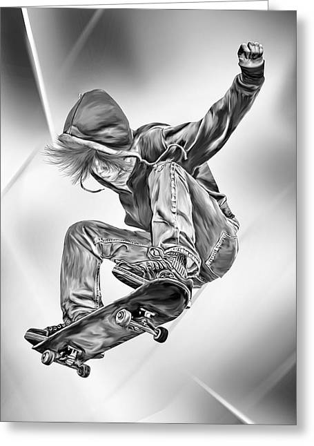 Skateboarding Greeting Cards - Extreme Skateboard Jump Greeting Card by Julie L Hoddinott