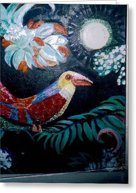 Ey Up Me Duck Parrot Painting Greeting Card by Anne-Elizabeth Whiteway