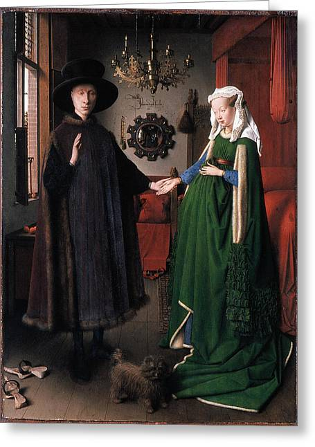 Romance Renaissance Greeting Cards - Eyck: Arnolfini Marriage Greeting Card by Granger