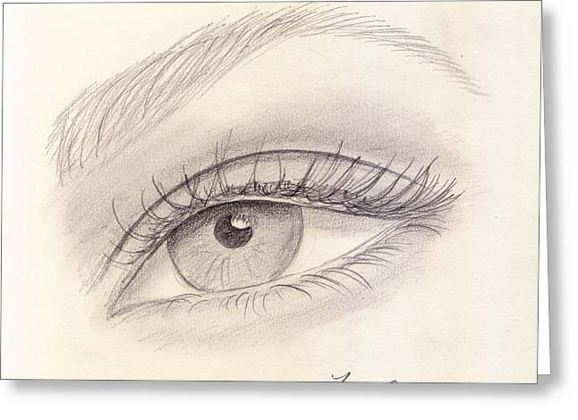 Sketch Greeting Cards - Eye Close up Greeting Card by Jose Valeriano