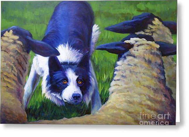 Recently Sold -  - Working Dog Greeting Cards - Eye Contact Greeting Card by Pat Burns