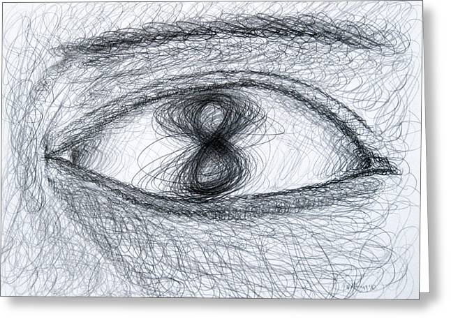 Figs Drawings Greeting Cards - Eye Eight Study Number One Greeting Card by Michael Morgan