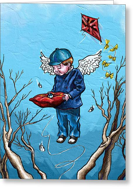 Kites Mixed Media Greeting Cards - Eye in the Sky Greeting Card by Baird Hoffmire
