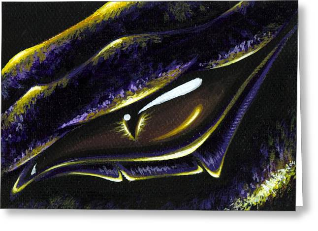 Fantasy Dragon Greeting Cards - Eye Of Ametrine Greeting Card by Elaina  Wagner