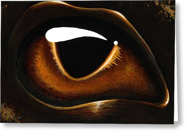 Fantasy Dragon Greeting Cards - Eye Of Baby Bronze Greeting Card by Elaina  Wagner