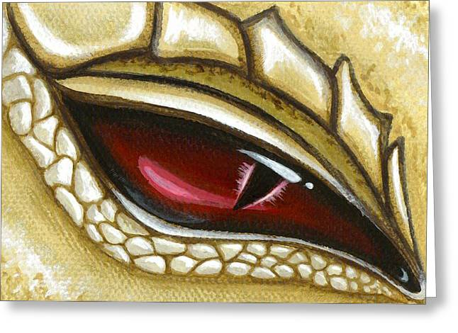 Fantasy Dragon Greeting Cards - Eye Of Gold Dust Greeting Card by Elaina  Wagner
