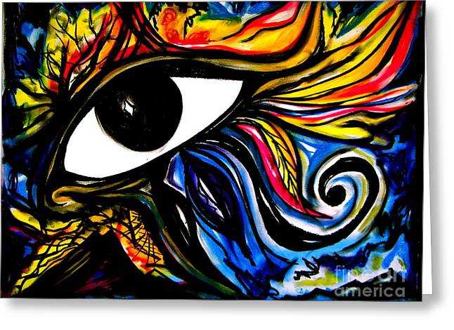 Horus Greeting Cards - Eye of Horus Greeting Card by Iris Vanessa Hood