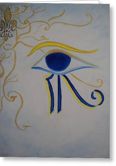 Horus Greeting Cards - Eye of Horus NOLA Style Greeting Card by Marian Hebert