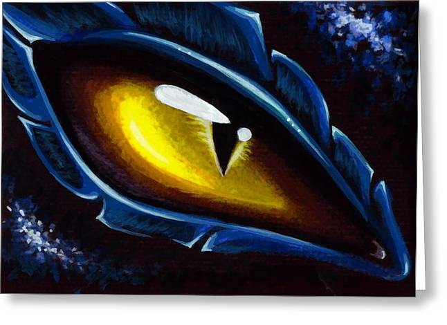 Fantasy Dragon Greeting Cards - Eye Of The Blue dragon Greeting Card by Elaina  Wagner