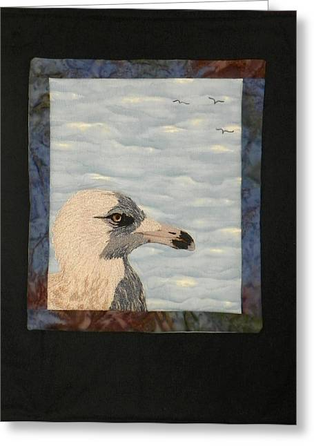 Freed Tapestries - Textiles Greeting Cards - Eye Of The Gull Greeting Card by Jenny Williams