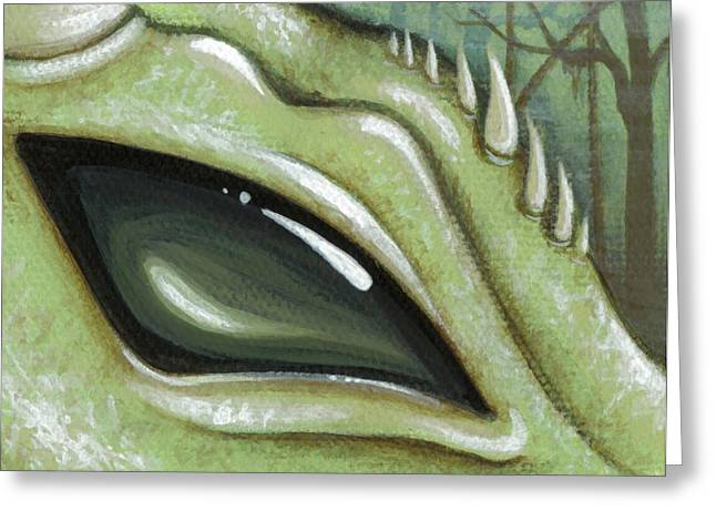 Fantasy Dragon Greeting Cards - Eye Of The Moss Dragon Greeting Card by Elaina  Wagner