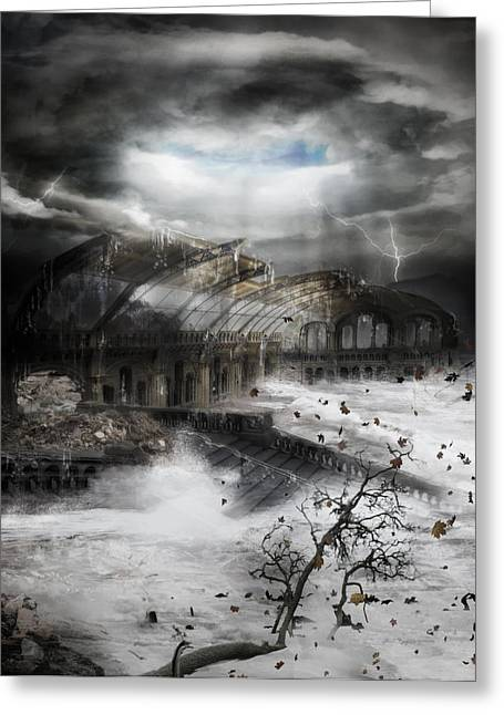 Flood Digital Art Greeting Cards - Eye of the Storm Greeting Card by Karen H