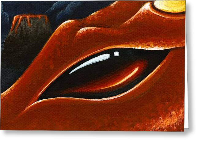 Eys Greeting Cards - Eye Of The Volcano Dragon Greeting Card by Elaina  Wagner