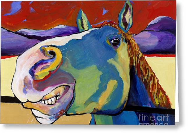 Large Format Animal Print Greeting Cards - Eye To Eye Greeting Card by Pat Saunders-White