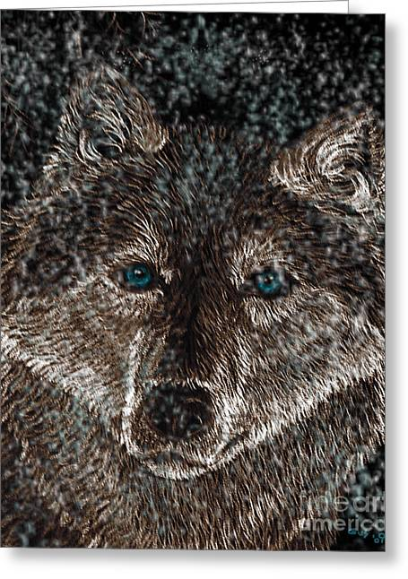 Wolves Drawings Greeting Cards - Eyes of the snow wolf Greeting Card by Nick Gustafson