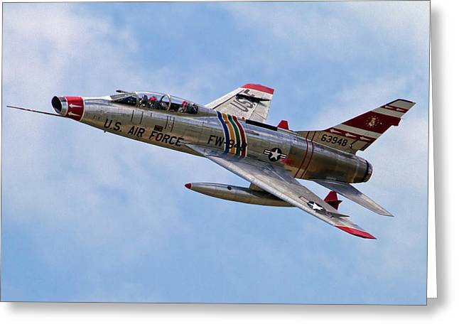 Century Series Greeting Cards - F-100 Greeting Card by Bill Lindsay