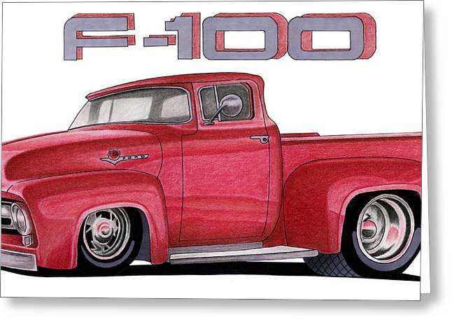 Car Pastels Greeting Cards - F-100 Greeting Card by Lyle Brown