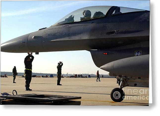 F-16 Fighting Falcons Parked Greeting Card by Stocktrek Images