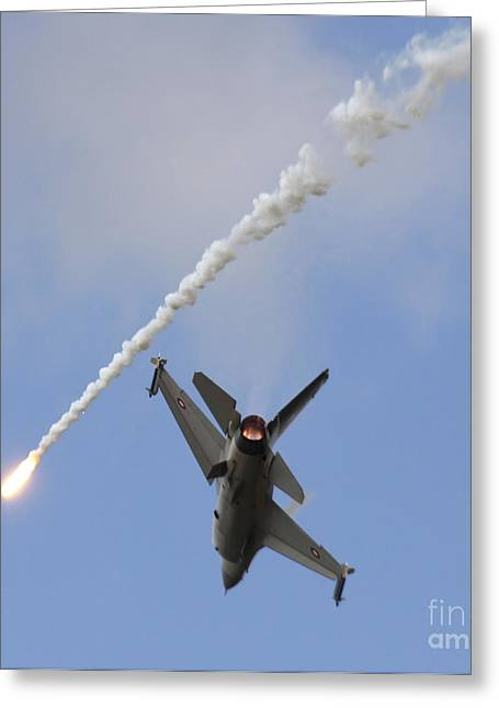 Hradec Greeting Cards - F-16am Fighting Falcon Spitting Flare Greeting Card by Timm Ziegenthaler
