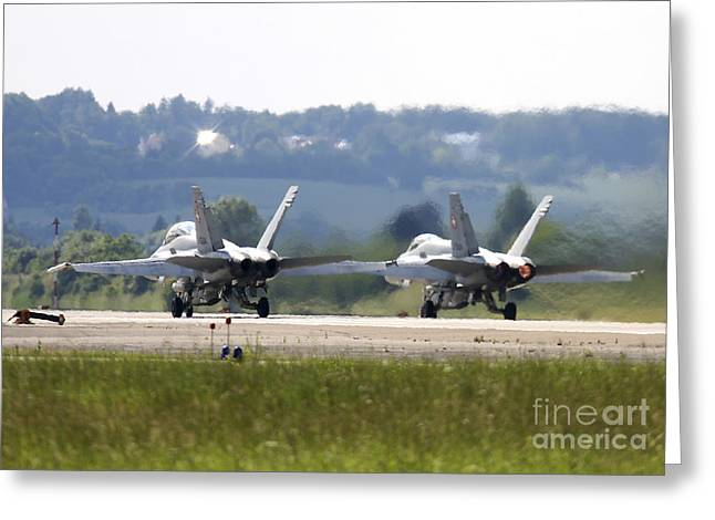F-18 Greeting Cards - F-18c Hornets Of The Swiss Air Force Greeting Card by Timm Ziegenthaler