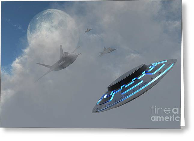 Paranormal Digital Art Greeting Cards - F-22 Stealth Fighter Jets On The Trail Greeting Card by Mark Stevenson