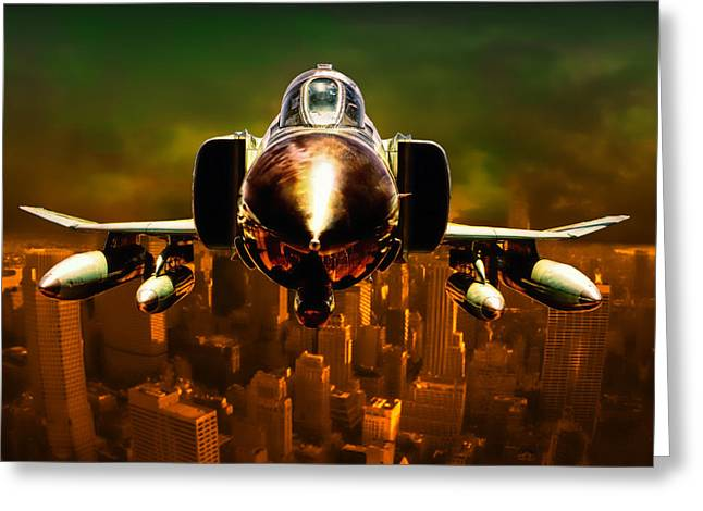 Military Airplanes Greeting Cards - F-4 Greeting Card by Michael Cleere