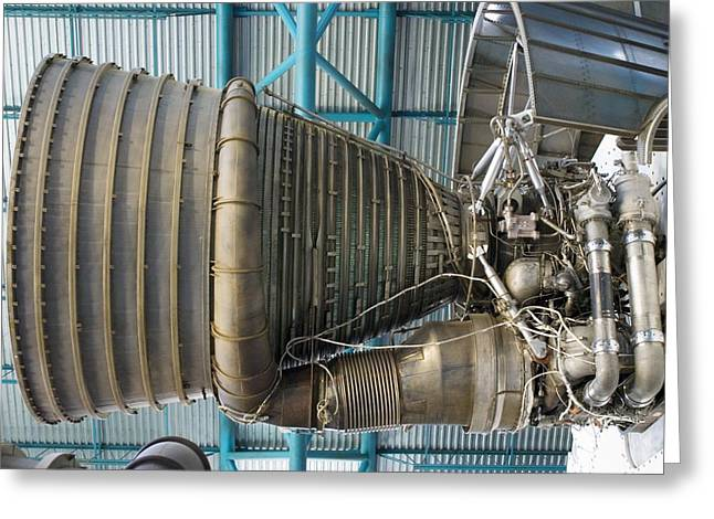 Projects Greeting Cards - F1 Engine On The Saturn V Rocket Greeting Card by Mark Williamson