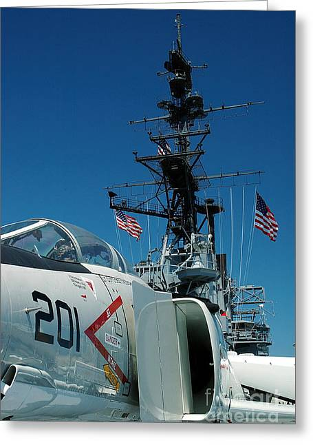 Jet Star Greeting Cards - F4-Phantom on the deck Greeting Card by Micah May