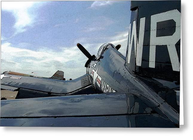 Propeller Greeting Cards - F4-U Corsair Greeting Card by Jame Hayes