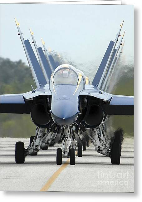 Airshow Flight Greeting Cards - Fa-18a Hornets Assigned To The Blue Greeting Card by Stocktrek Images