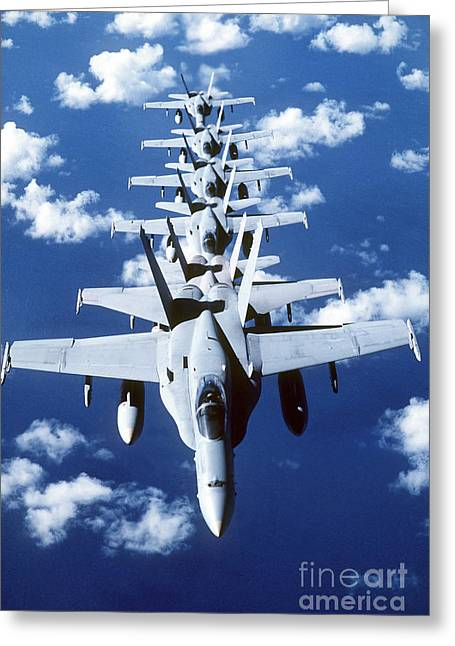 Best Sellers -  - Cooperation Greeting Cards - Fa-18c Hornet Aircraft Fly In Formation Greeting Card by Stocktrek Images
