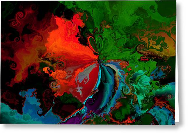 Faa Abstract 3 Invasion Of The Reds Greeting Card by Claude McCoy