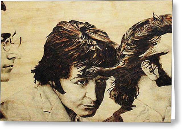 Celebrities Pyrography Greeting Cards - Fab Four Greeting Card by Michael Garbe