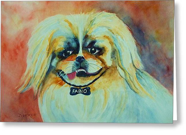 Guard Dog Paintings Greeting Cards - Fabio Greeting Card by Jane  Ricker
