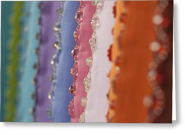 Sequin Greeting Cards - Fabric at the Market Greeting Card by Zoe Ferrie