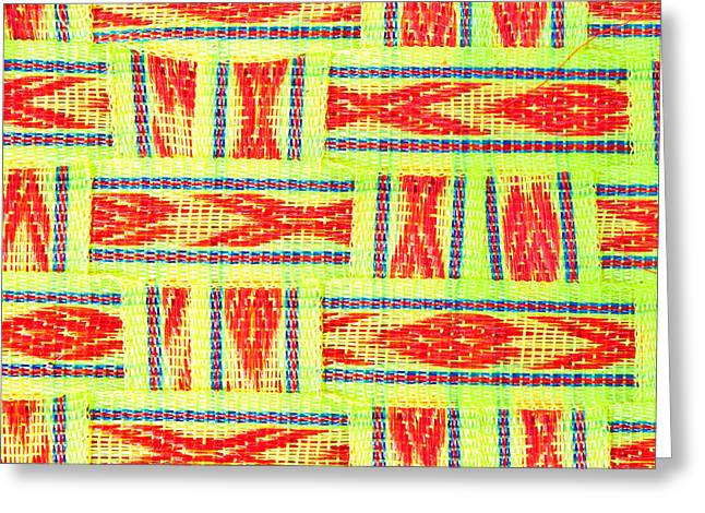 Straps Greeting Cards - Fabric background Greeting Card by Tom Gowanlock