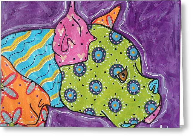 Boxer Abstract Art Greeting Cards - Fabu Boxer Greeting Card by Audra Sampson