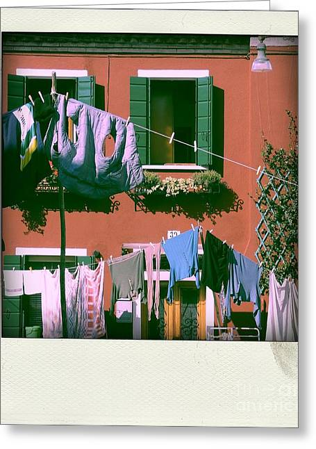 Facades Of Burano. Venice Greeting Card by Bernard Jaubert