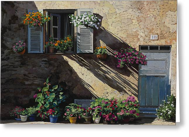 Courtyard Greeting Cards - Facciata In Ombra Greeting Card by Guido Borelli