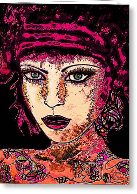 High Cheekbones Greeting Cards - Face 13 Greeting Card by Natalie Holland