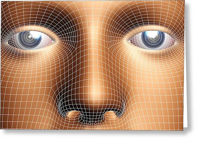 Face Recognition Photographs Greeting Cards - Face Biometrics Greeting Card by Pasieka