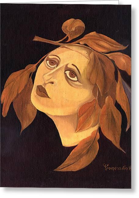 Face In Autumn Leaves Greeting Card by Rachel Hershkovitz