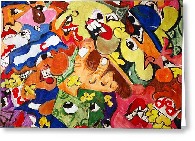 Abstract Baseball Greeting Cards - Face in the Bleachers Greeting Card by Jame Hayes