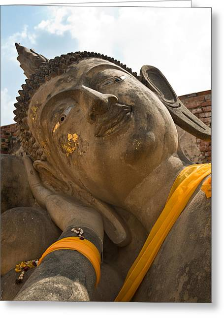 Brown Head Sculpture Greeting Cards - Face of a reclining Buddha Greeting Card by Ulrich Schade