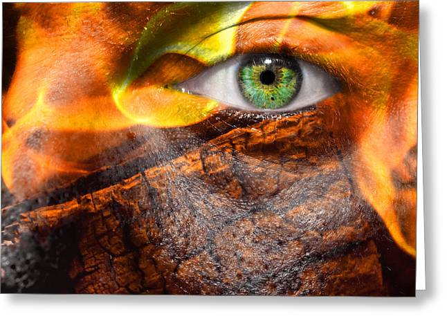 Eyebrow Greeting Cards - Face of Flames Greeting Card by Semmick Photo